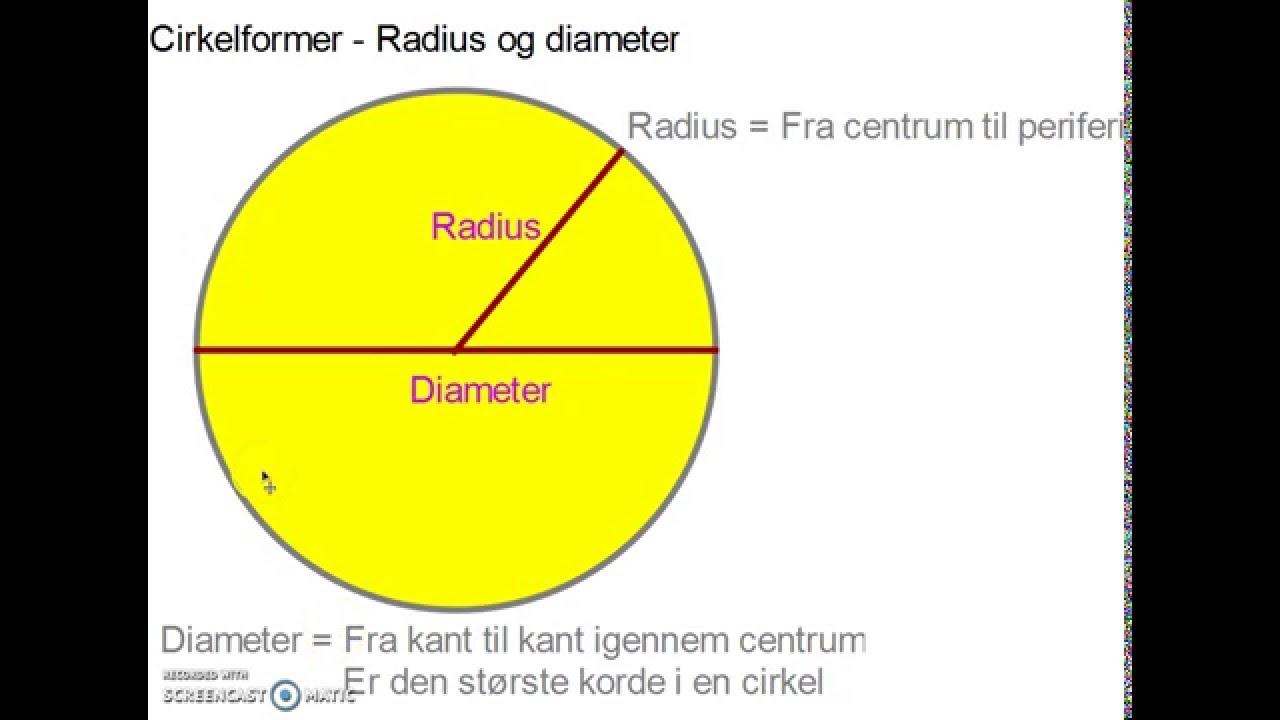 Cirkelformer - Radius og diameter
