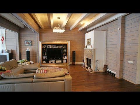 Очень красивый дом из клееного бруса с эксклюзивной отделкой, с бассейном и выходом к реке