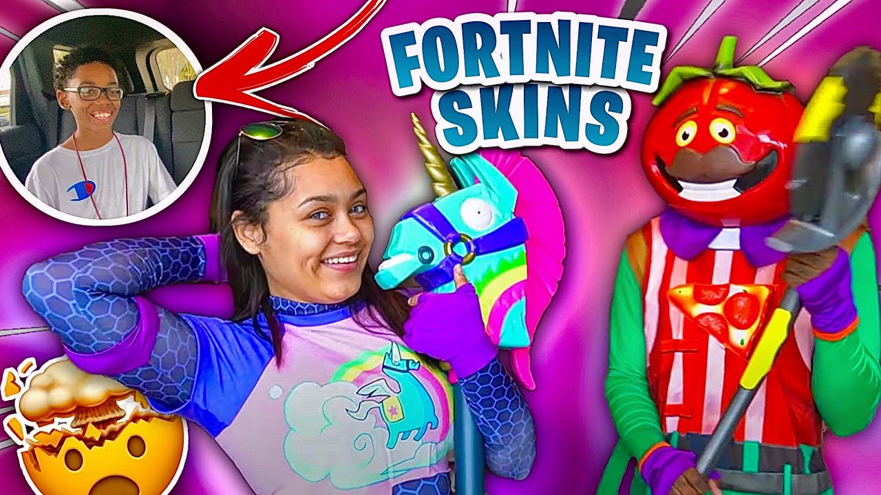 WE PICKED OUR 11 YEAR OLD SON UP FROM SCHOOL IN FORTNITE SKINS THEN SURPRISING HIM