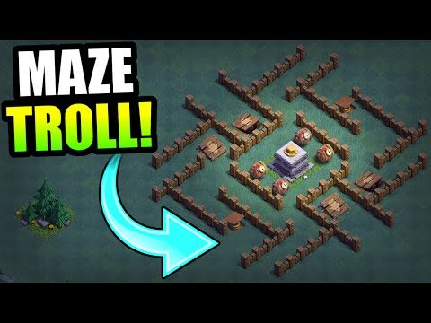 Thumbnail: MAX LEVEL CRUSHER MAZE BASE!! - BUILDERS HALL TROLLING! - Clash Of Clans