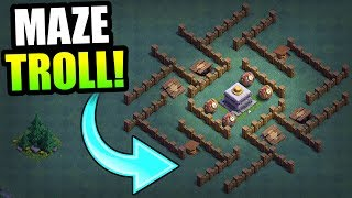 MAX LEVEL CRUSHER MAZE BASE!! - BUILDERS HALL TROLLING! - Clash Of Clans