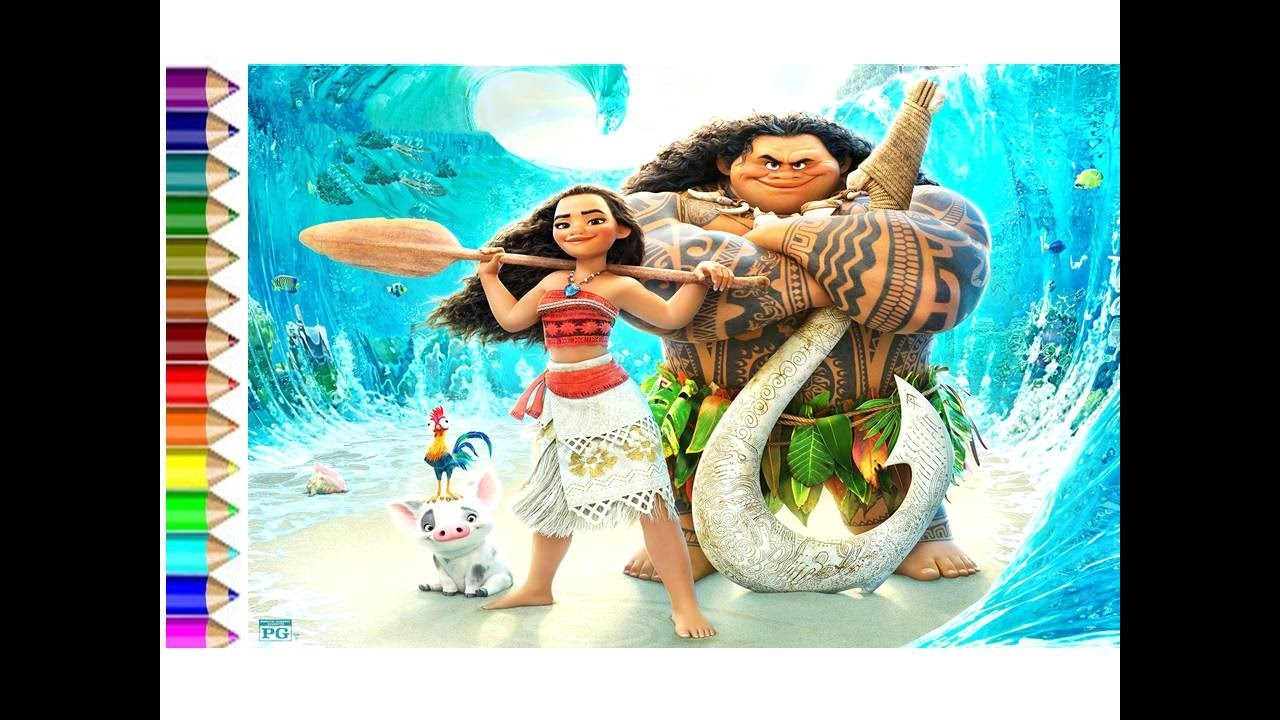 how to draw Disney Maui and Moana