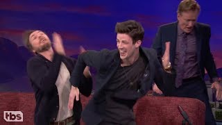 Grant Gustin Doing The Flash Run on Conan