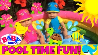 Video 🏖 Pool Time! Baby Born Twins Trying Out their New Pool & Water Toys ...And Feeding Day Geckos!🦎🍌 download MP3, 3GP, MP4, WEBM, AVI, FLV Desember 2017