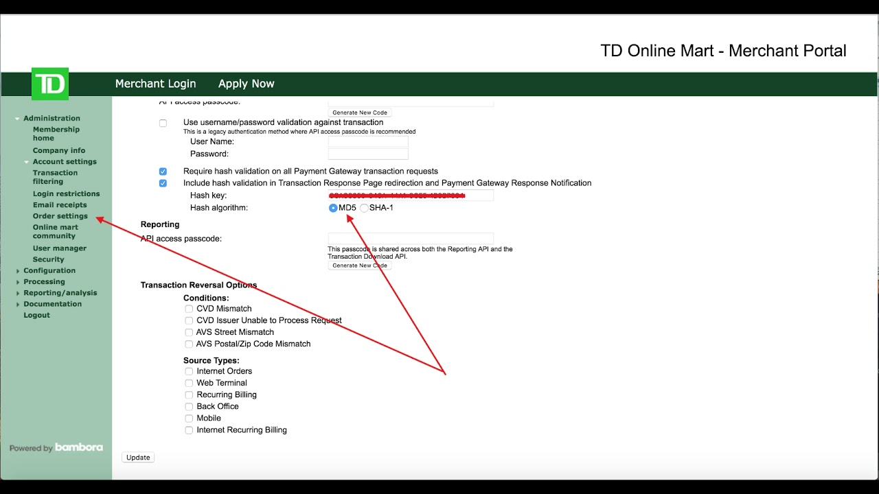 Q236  How do you setup TD Bank to work with uLaw?