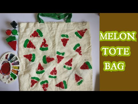 DIY:WATERMELON TOTE BAG PAINTING ||Fiddle A Little