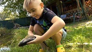 Ребёнок сам взял в руки удочку и начал вырывать таких карасей