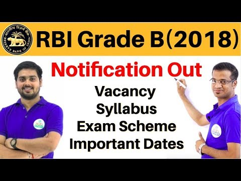 RBI Grade B 2018 Notification out | Vacancy, Syllabus, Exam Scheme, Important Dates, Complete Info