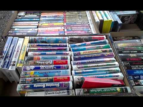 Vhs movies at a garage sale in lacomb - YouTube