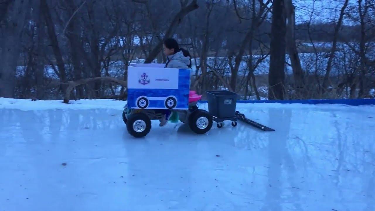 zamboni kid backyard ice rink - YouTube