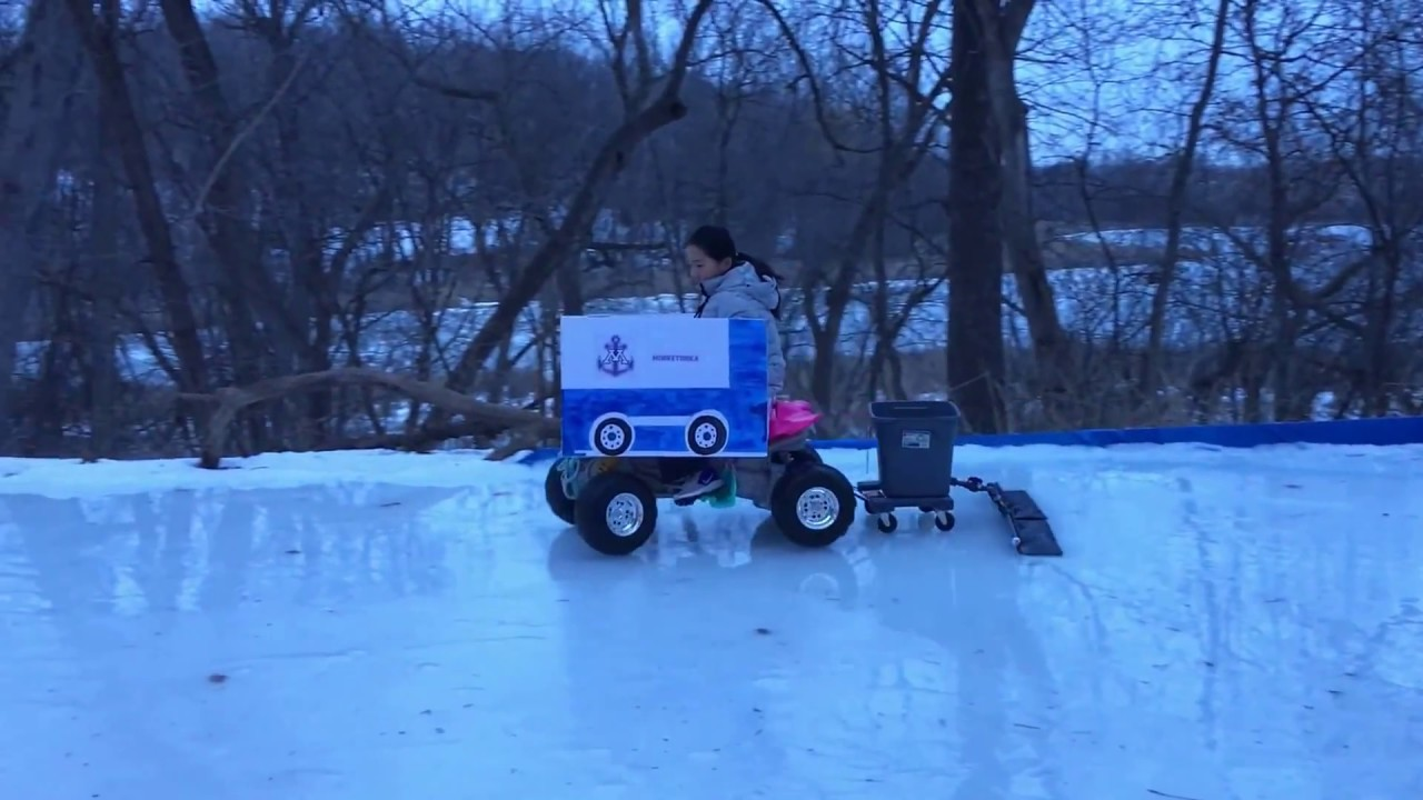 zamboni kid backyard ice rink youtube