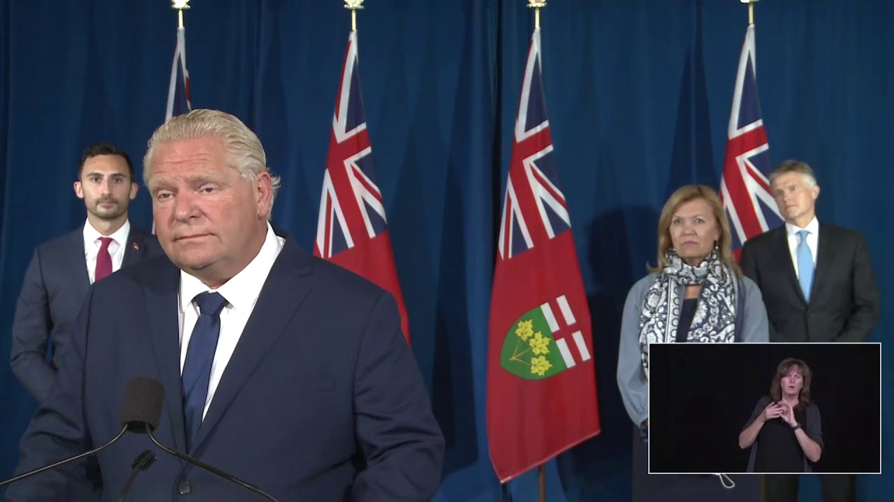 Premier Ford Makes An Announcement At Queen S Park September 14 Youtube