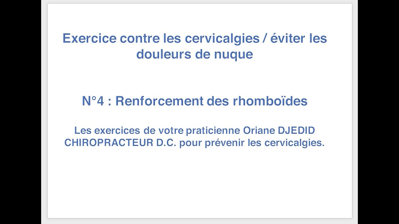 Exercices complets pour soulager le cou / Cervicalagies. n°4
