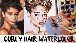 HOW TO PAINT CURLY HAIR WATERCOLORS