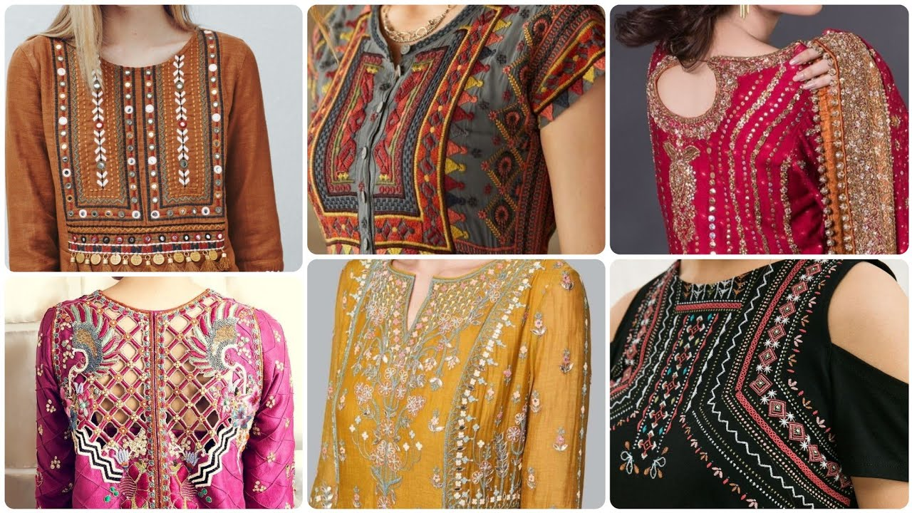 Top Class 40+ Embroidered Neck Designing Idea's/Front & Back Neckline Embroidery