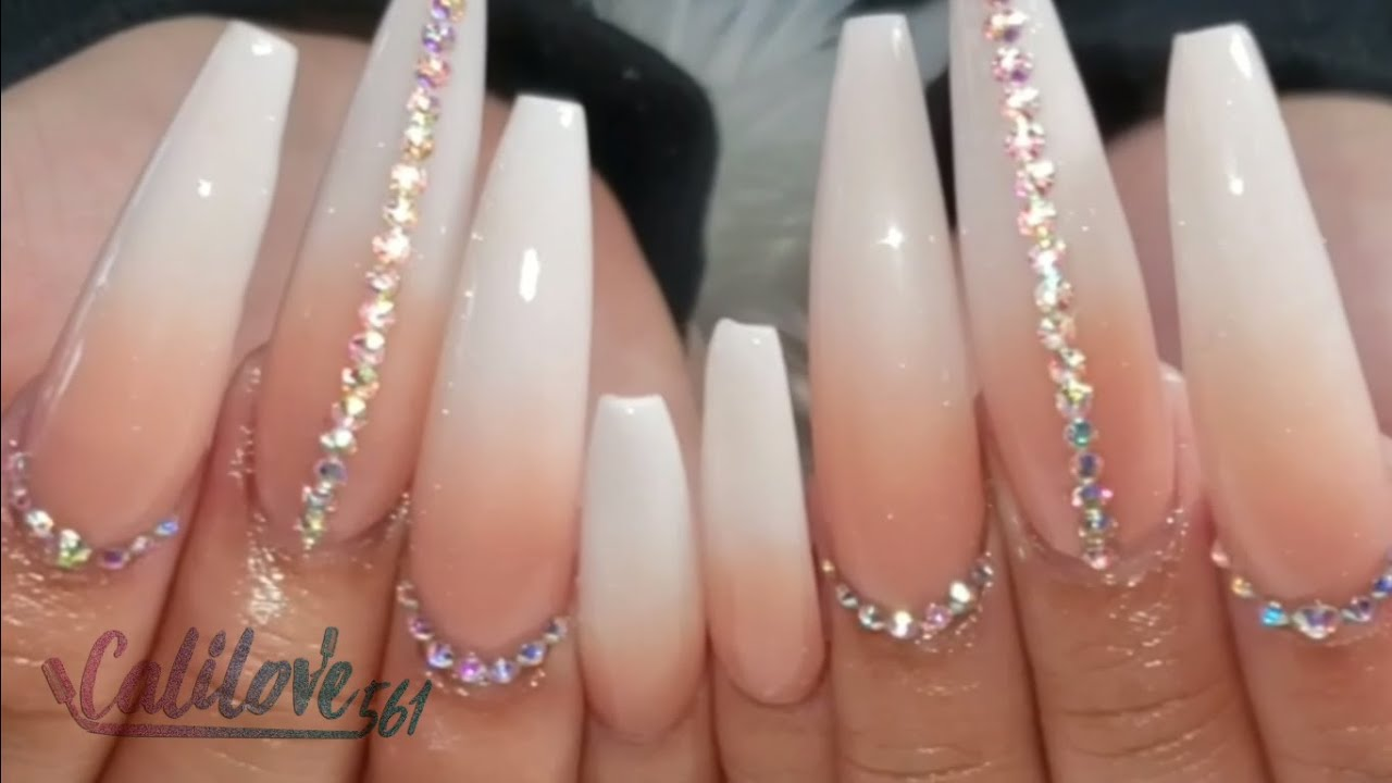 PINK AND WHITE OMBRE NAILS FULLSET// LONG NAILS!! - YouTube