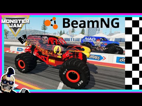 Monster Jam Video Game Drag Racing | BeamNG Drive |