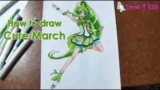 How to draw Cure March from Smile Pretty Cure | D4K