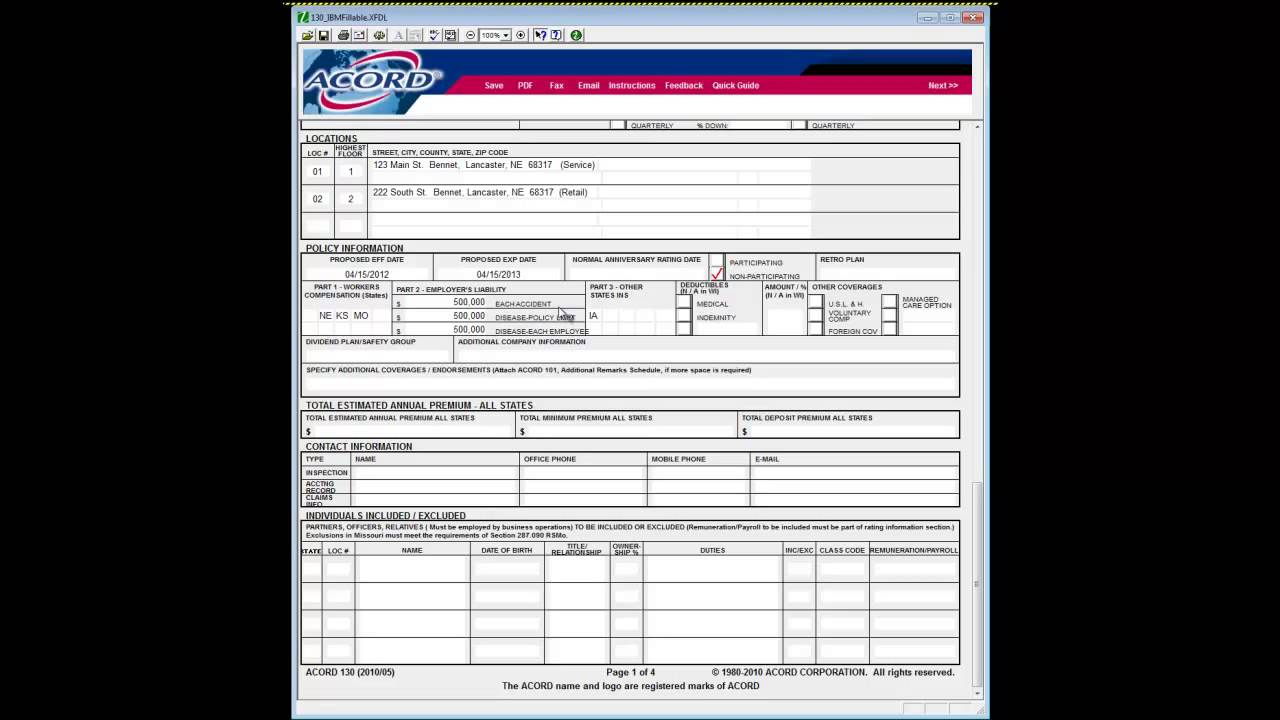 Acord 130 How To Complete Insurance Agency Quoting Forms - YouTube