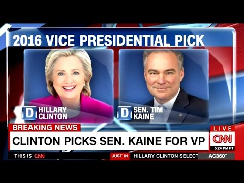 Breaking News - Senator Tim Kaine Is Hillary Clinton's VP Selection