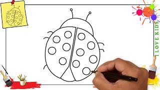 ladybug draw easy step beginners
