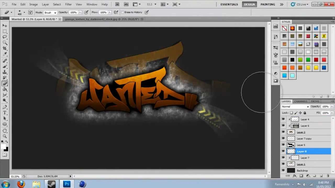 Ramen Speed Art - Wanted Graffiti Logo Speed Art Contest