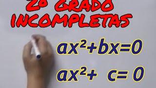 Aprende matemáticas: Ecuaciones segundo grado incompletas