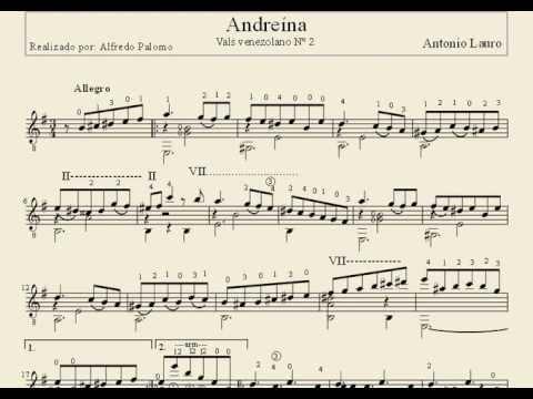 Partitura Andreína Vals Venezolano Nº2 de Antonio Lauro Guitarra Clásica