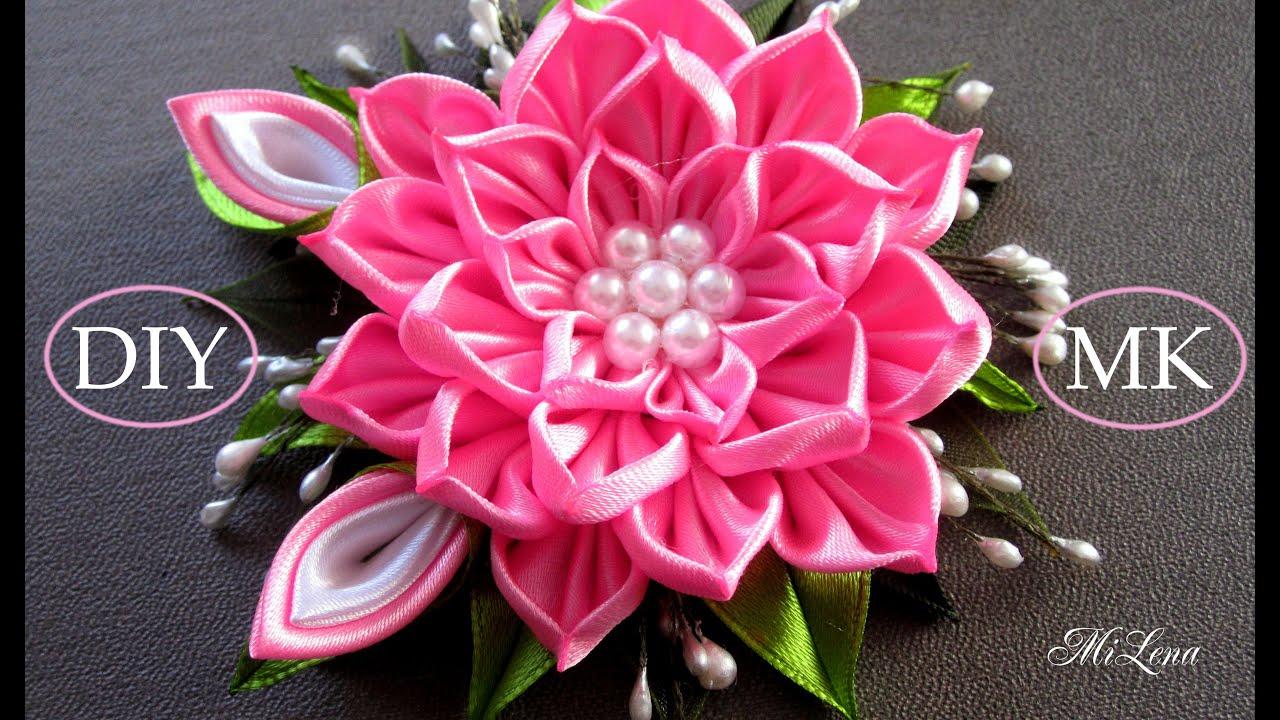 Цветок канзаши, МК / D.I.Y. Kanzashi flower / Ribbon flower tutorial ...