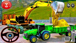Transporting Concrete in Tractor - Heavy Bucket Excavator Simulator -  Android Gameplay