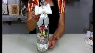 Decoração com garrafa cortada – Artesanato em Vidro