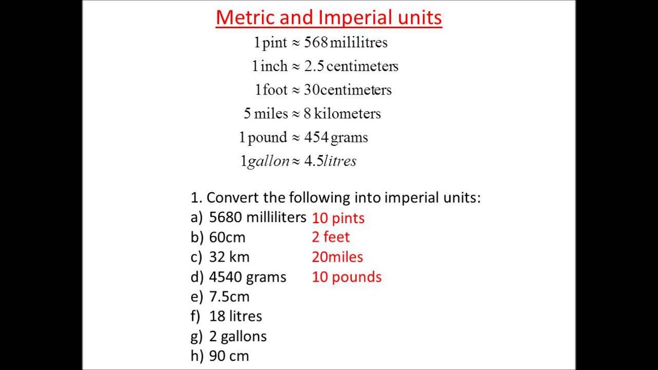 Metric To Imperial Conversions Youtube