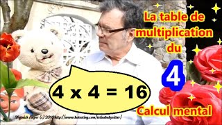 Table de multiplication de 4 et calcul mental : Maths facile ce1 ce2 cm1