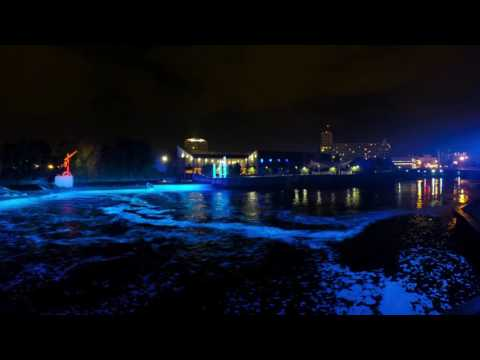 Downtown South Bend Indiana River lights time lapse