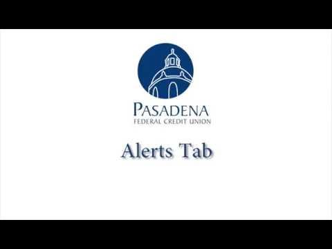 Pasadena FCU Online Banking Overview: Alerts Tab
