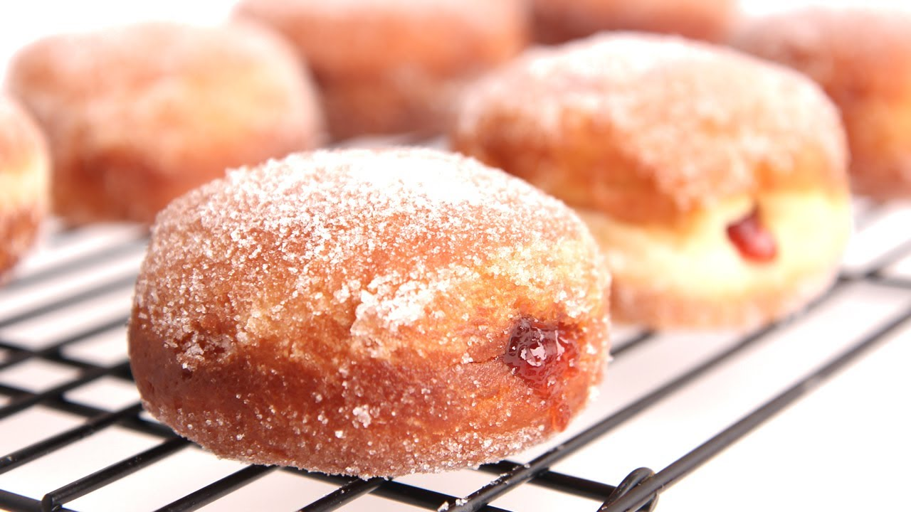 Homemade Jelly Donut Recipe Laura Vitale Laura In The Kitchen