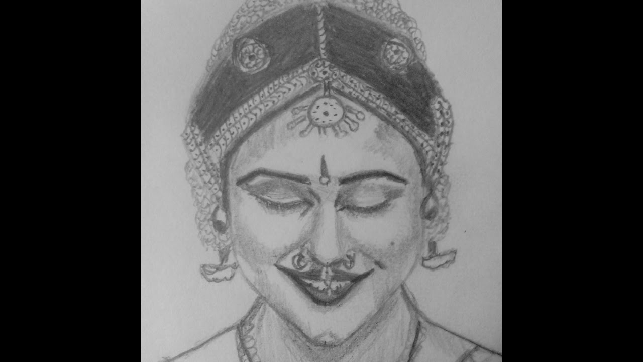 Pencil sketch pencil drawing pencil portrait of indian classical dance