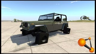 DRAG JEEP ON SQAURE TIRES - BeamNG.drive