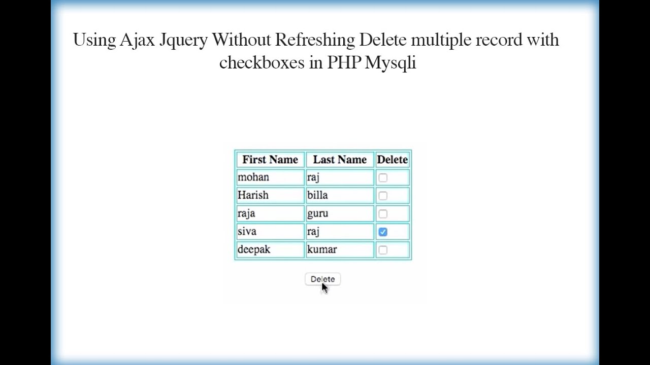 Using Ajax Jquery Without Refreshing Delete multiple record with