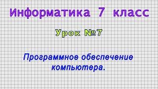 Информатика 7 класс (Урок№7 - Программное обеспечение компьютера.)