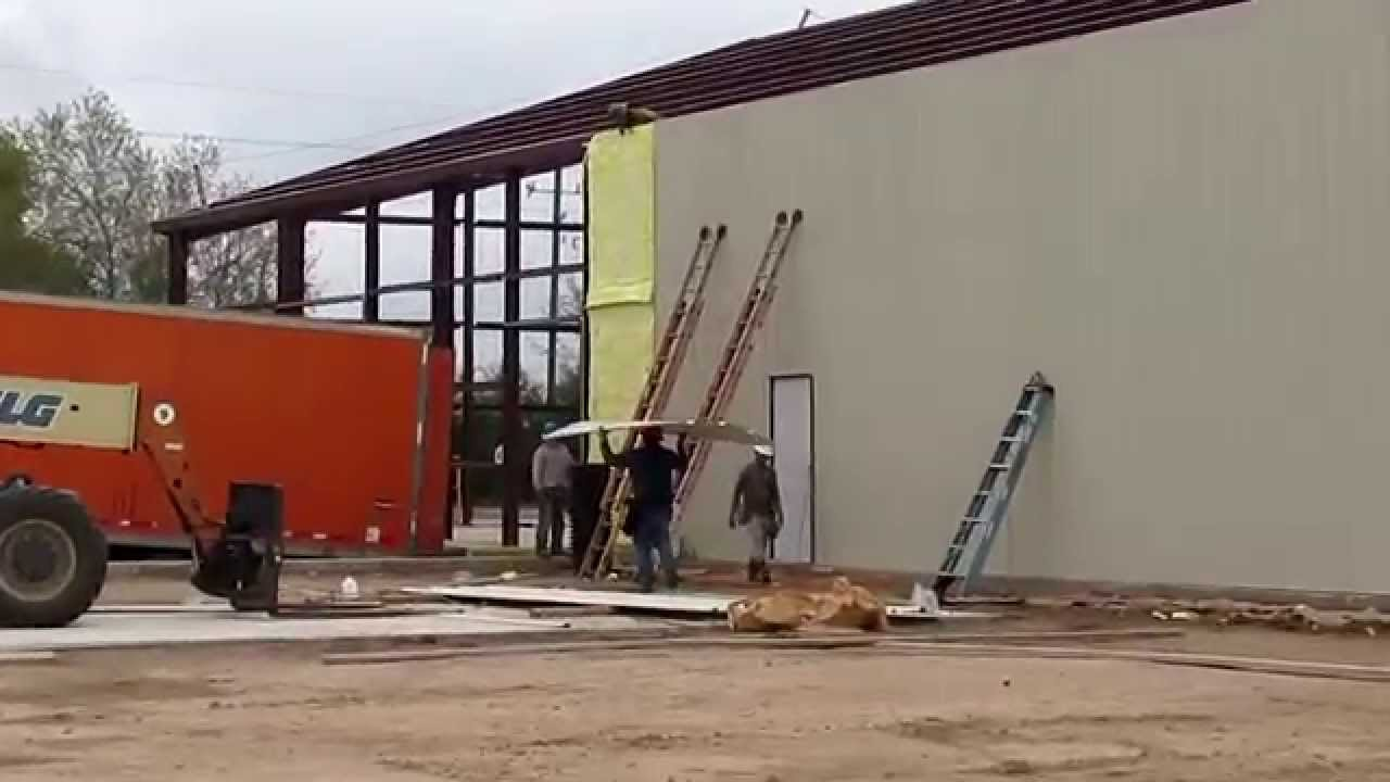 SCP Metal Building wall panel installation - YouTube