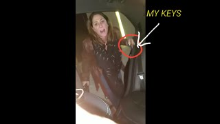 Uber attack caught on camera.crazy lady stole my car keys on video!