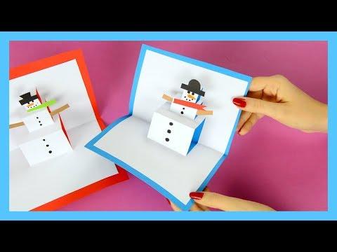 DIY Snowman Pop Up Card - Winter crafts for kids