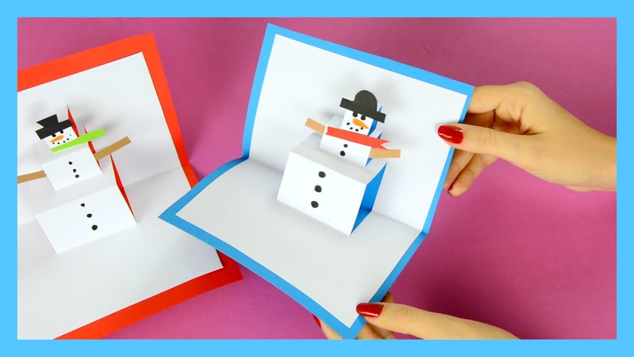 Diy snowman pop up card winter crafts for kids youtube for Pop up card craft