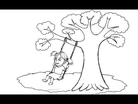 Cara Menggambar Mewarnai Anak Sd Tema Main Ayunan Oleh Rico