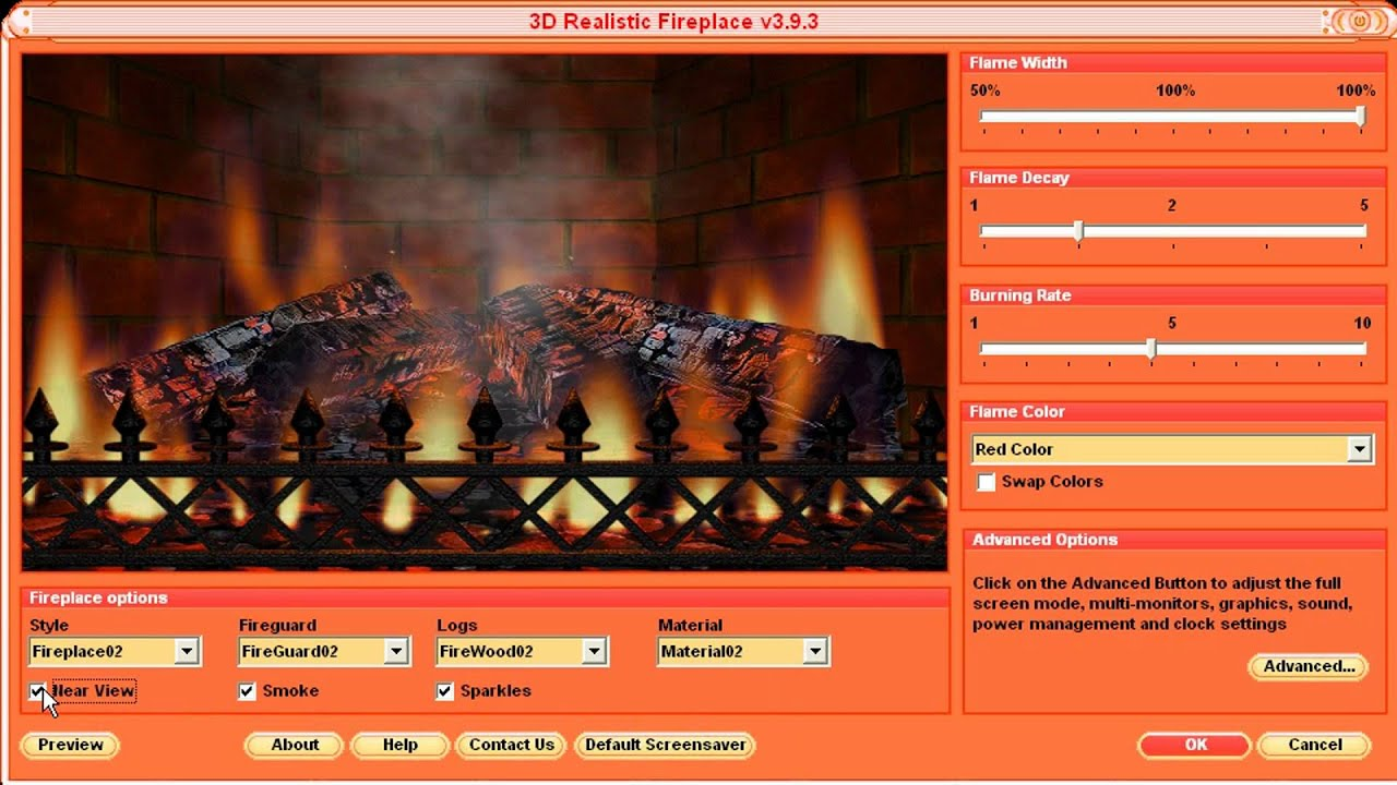 3D Realistic Fireplace Screensaver - Virtual Fireplace with ...