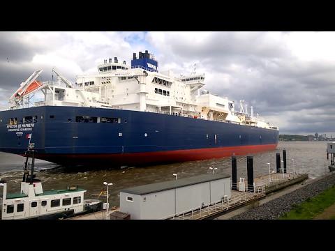 Erster eisbrechender Gastanker CHRISTOPHE DE MARGERIE auf dem Weg B&V Dock Elbe 17