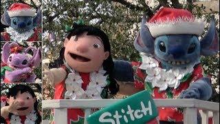 [動画] 2018年の東京ディズニーシーのクリスマスのパレード、ディズニー・クリスマス・ストーリーズをスティッチ、リロ、エンジェルの停止位置...