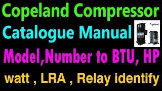 Copland compressor how to identify model numbers to BTU HP watt LRA. Learn all technical chart Hindi
