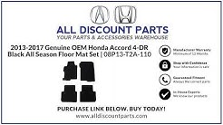 2013-2017 Genuine OEM Honda Accord 4-DR Black All Season Floor Mat Set | 08P13-T2A-110